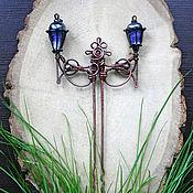 """Украшения ручной работы. Ярмарка Мастеров - ручная работа Шпилька """"Двойной фонарь"""", медь, лэмпворк. Handmade."""