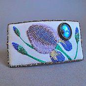 Украшения handmade. Livemaster - original item Barrette IRISES beads, labradorite, nubuck, leather. Handmade.