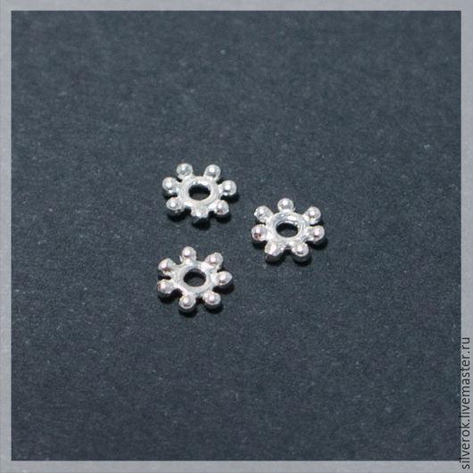 Для украшений ручной работы. Ярмарка Мастеров - ручная работа. Купить Шапочка для бусин Снежинка маленькая серебро 925 проба. Handmade.