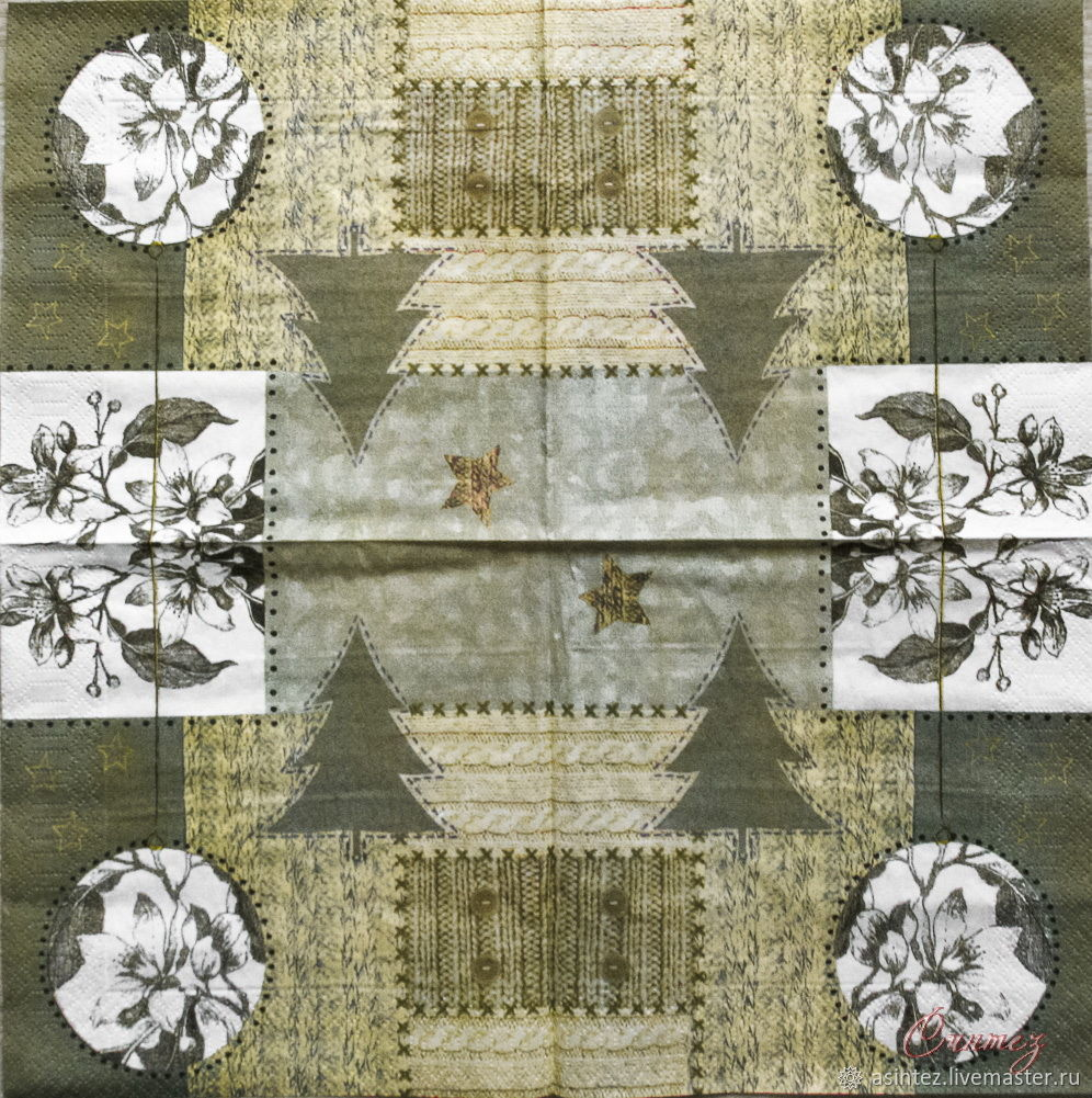 Napkins for decoupage patchwork knitted with flowers winter, Napkins for decoupage, Moscow,  Фото №1