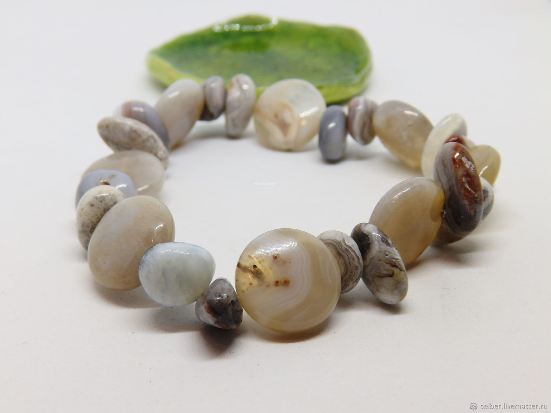 Misty Shore Bead Bracelet (agate, chalcedony), Bead bracelet, Gatchina,  Фото №1