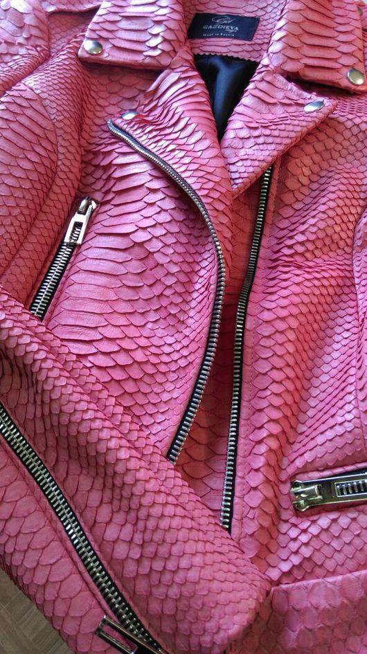 Верхняя одежда ручной работы. Ярмарка Мастеров - ручная работа. Купить Куртка из кожи питона(косуха). Handmade. Разноцветный, кожаная куртка