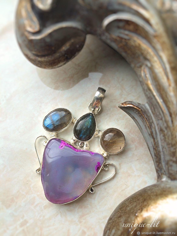 Pendant agate, Labradorite, Rutile quartz, Pendants, Pushkino,  Фото №1