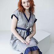 """Одежда ручной работы. Ярмарка Мастеров - ручная работа """"Грозовой перевал"""". Летнее льняное платье с рюшами, синее с серым. Handmade."""