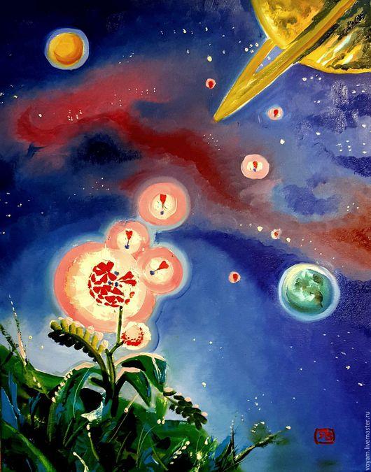 Пейзаж ручной работы. Ярмарка Мастеров - ручная работа. Купить волшебные цветы вселенной. Handmade. Тёмно-синий, космический, путешественнику