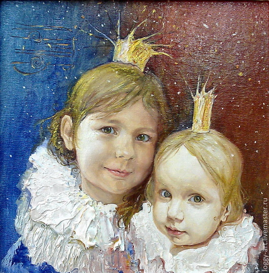 """Люди, ручной работы. Ярмарка Мастеров - ручная работа. Купить """"Маленькие королевы"""". Handmade. Ультрамарин, подарок девушке, холст на подрамнике"""