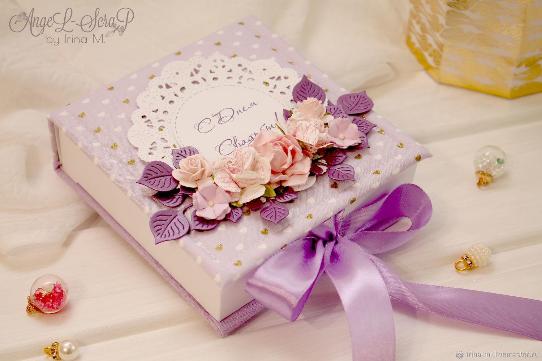Свадебная коробочка для денежного подарка в тканевой обложке, Подарки, Москва, Фото №1