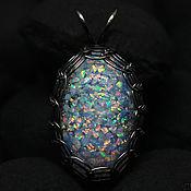 Украшения handmade. Livemaster - original item Dragon Egg. Pendant with lab opal. White opals in glass. Handmade.