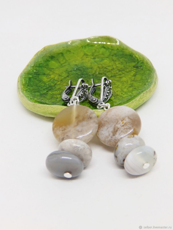 Misty Shore Earrings (agate, chalcedony), Earrings, Gatchina,  Фото №1