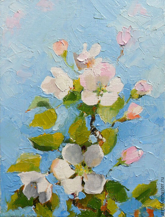 Картины цветов ручной работы. Ярмарка Мастеров - ручная работа. Купить Картина Яблоня цветет Масло холст 13х18 см. Handmade.
