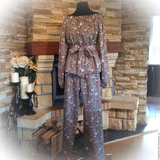 """Белье ручной работы. Ярмарка Мастеров - ручная работа. Купить Пижама из хлопка """"Роузи"""". Handmade. Серый, комплект домашней одежды"""
