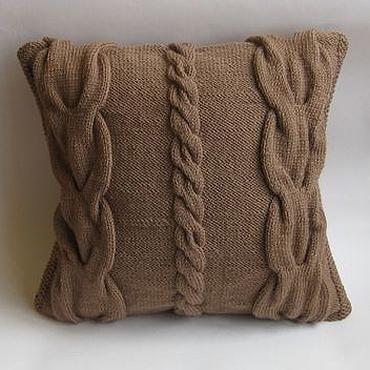 Textiles handmade. Livemaster - original item Knitted decorative pillow Royal braids. Handmade.
