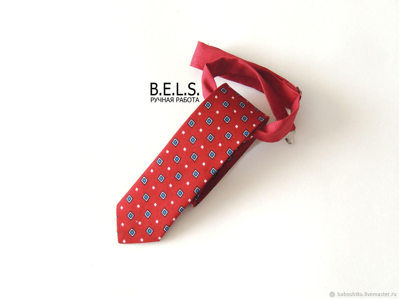Детский галстук красно-бордовый в ромбик, Галстуки, Оренбург,  Фото №1