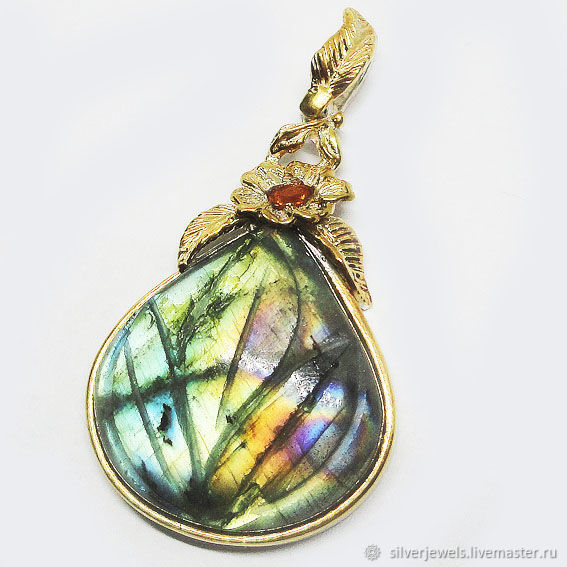 925 sterling silver pendant with natural carved labrodoro Spectro, Pendants, Moscow,  Фото №1