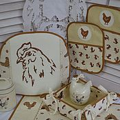 """Для дома и интерьера ручной работы. Ярмарка Мастеров - ручная работа Набор для кухни """"Бежево коричневый"""". Handmade."""