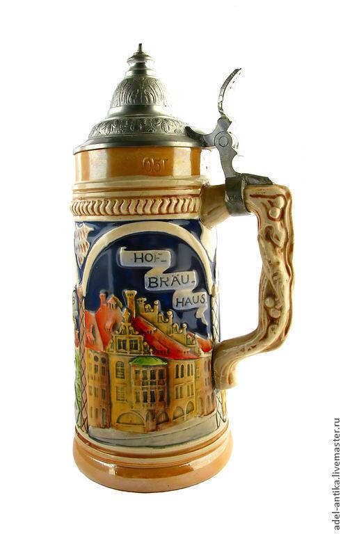 Винтажная посуда. Ярмарка Мастеров - ручная работа. Купить Немецкая пивная кружка. Handmade. Разноцветный, Пивная кружка, керамика