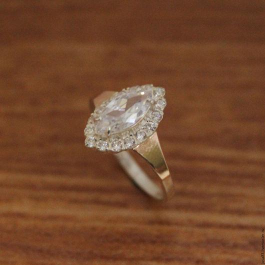 Кольца ручной работы. Ярмарка Мастеров - ручная работа. Купить Серебряное кольцо Маркиз, с золотыми накладками, серебро 925. Handmade.