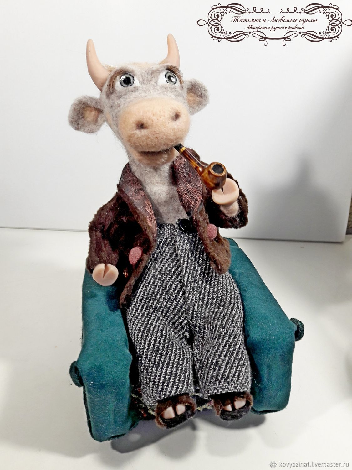 Bull. Something to think about!, Felted Toy, Lesnoj,  Фото №1