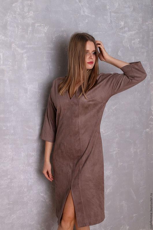 Платья ручной работы. Ярмарка Мастеров - ручная работа. Купить Платье из замши в 2 цветах. Handmade. Серый, платье по колено