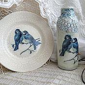 Подарки к праздникам ручной работы. Ярмарка Мастеров - ручная работа Вазочка с синими птичками. Handmade.
