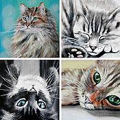Картины и панно ручной работы. Ярмарка Мастеров - ручная работа Обычный день обычного кота. Handmade.
