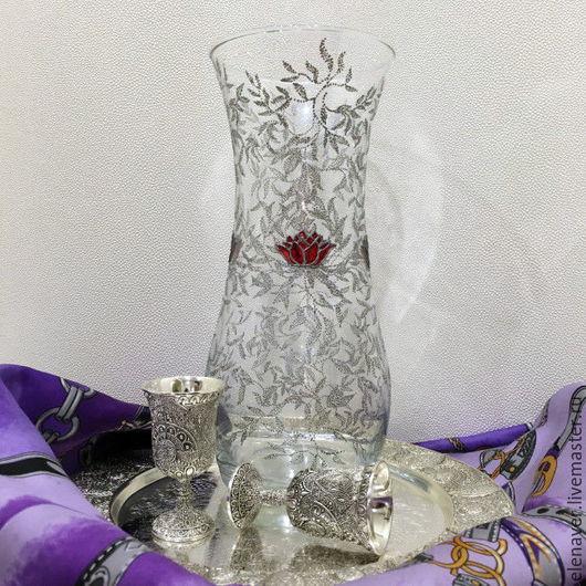ваза, роспись стекла, розы, серебро, серебристая , подарок для подруги