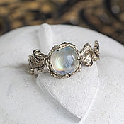 Украшения handmade. Livemaster - original item White gold ring with moonstone