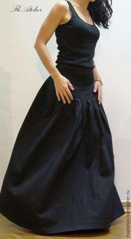 Юбки ручной работы. Ярмарка Мастеров - ручная работа. Купить Прекрасная Черная длинная юбка Maxi / Высокая или низкая талия/F1376. Handmade.