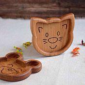 Посуда ручной работы. Ярмарка Мастеров - ручная работа Детская деревянная тарелка Котик. Handmade.