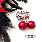 Украшения handmade. Livemaster - original item Earrings studs cherry Winter geometry cotton pearl crumpled metal. Handmade.