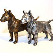 Для дома и интерьера ручной работы. Ярмарка Мастеров - ручная работа БУЛЬТЕРЬЕР  - статуэтка (оловянная миниатюрная фигурка собаки). Handmade.