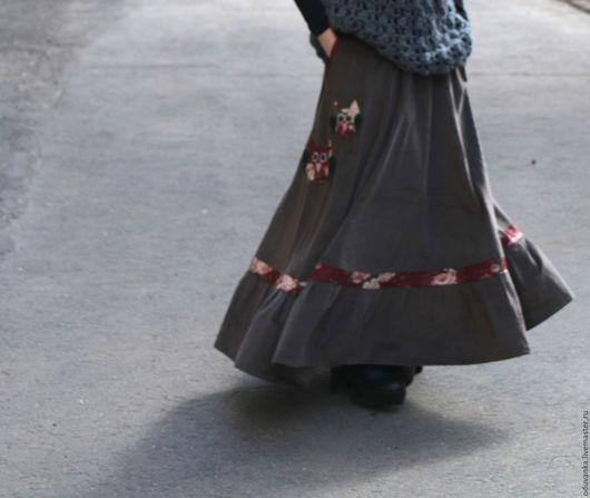 """Юбки ручной работы. Ярмарка Мастеров - ручная работа. Купить Весенняя юбка """"Совушки"""". Handmade. Хаки, длинная юбка, бархат"""