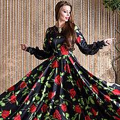 Одежда ручной работы. Ярмарка Мастеров - ручная работа Платье шёлковое в макси длине, с кружевной отделкой.. Handmade.