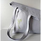 "Сумка-мешок ручной работы. Ярмарка Мастеров - ручная работа Эко-сумка ""Эко-стиль"" - ручная вышивка, авоська, серая сумка. Handmade."