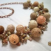 Украшения handmade. Livemaster - original item Beads Chain Necklace Fruit Tiramisu Textile Beads Beige. Handmade.