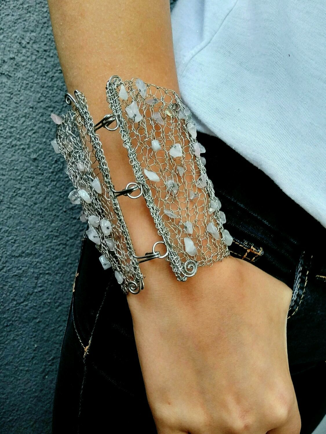 Wide Cuff Bracelet Crocheted Wire and Stones Silver Pink – shop ...
