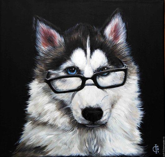 Животные ручной работы. Ярмарка Мастеров - ручная работа. Купить портрет собаки. Handmade. Черный, хаски, собака, портрет