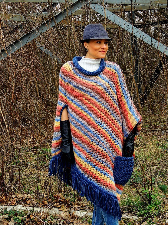 Вязание пончо накидки в стиле бохо