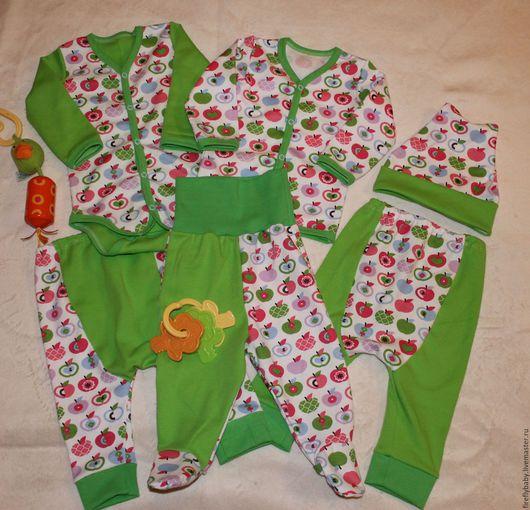Одежда ручной работы. Ярмарка Мастеров - ручная работа. Купить Комплект одежды для малыша 7 предметов. Handmade. Ярко-зелёный