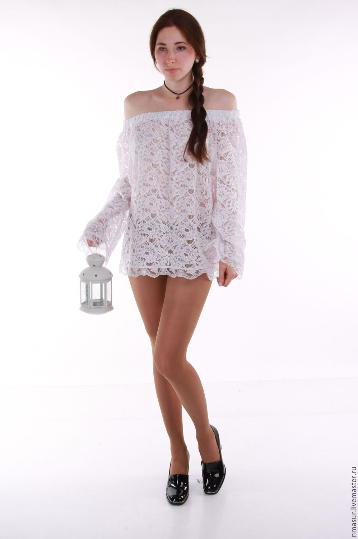 Белая кружевная блузка