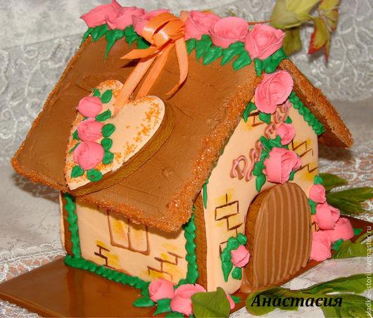 Персональные подарки ручной работы. Ярмарка Мастеров - ручная работа. Купить Пряничный домик. Handmade. Оранжевый, пряник имбирный