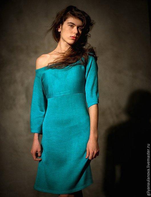 """Платья ручной работы. Ярмарка Мастеров - ручная работа. Купить Платье """"Дебют"""". Handmade. Бирюзовый, базовое платье, шёлк 30%"""