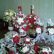 Свадебный салон handmade. Livemaster - original item Wedding white-and-red kit with handmade flowers. Handmade.