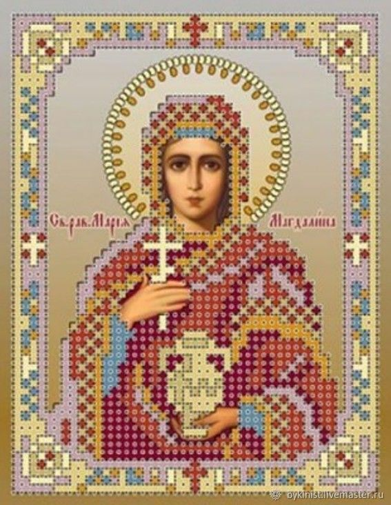 St. MCH.Mariamagdalena.Scheme for b-I beads on satin, Patterns for embroidery, Schyolkovo,  Фото №1
