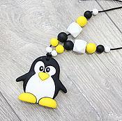 Работы для детей, ручной работы. Ярмарка Мастеров - ручная работа Силиконовые слингобусы с грызунком Пингвином. Handmade.