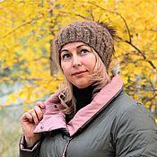Аксессуары handmade. Livemaster - original item Fashionable beanie hat with a pompom down knitted made with braids. Handmade.