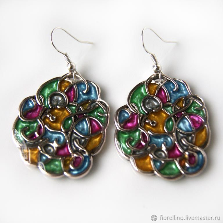 Earrings stained glass, Earrings, Moscow,  Фото №1