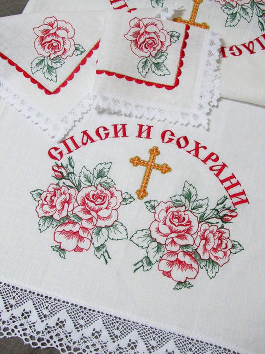 Набор для венчания. Венчальный рушник:  45 x 200 см. Салфетка (2 шт.): 26 x 26 см.