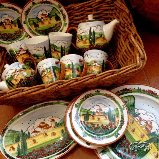 Сервизы, чайные пары ручной работы. Ярмарка Мастеров - ручная работа. Купить Роспись фарфора Чайный сервиз Маки Тосканы. Handmade.
