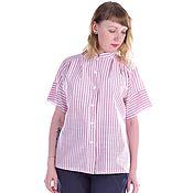 Одежда ручной работы. Ярмарка Мастеров - ручная работа Рубашка из хлопка в полоску розовая. Handmade.